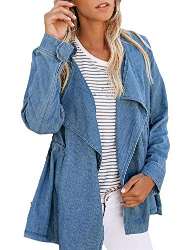 Haloumoning Womens Casual Denim Coat Open Front LooseEmpire Waist Stand Collar Trench Outwear by Haloumoning (Image #4)