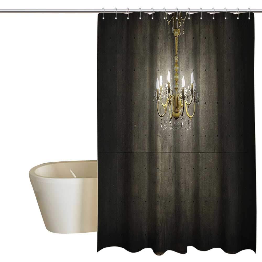 Grunge Home Decor Hotel Style Shower Curtain Classic Golden Chandelier in a Dark Gothic Wooden Room Vintage Style Room Picture Shower stall Curtain W55 x L84 Golden and Olive Green