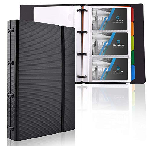 MaxGear Professional Business Card Holders, Business Card Book Holder Name Card Organizer Business Card Organizer with 5 Color Index Tabs ()