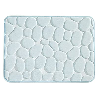 "mDesign Small Pebble Accent Memory Foam Bath Mat for Bathroom Showers - 24"" x 17"", Water -  - bathroom-linens, bathroom, bath-mats - 51lqOTNImoL. SS400  -"