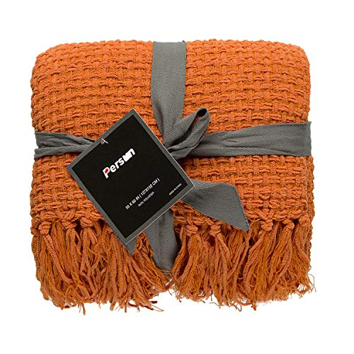 PERSUN Lightweight Throw Blanket Soft Decorative Knit Blankets with Fringe for Sofa Couch Home Decor, 50