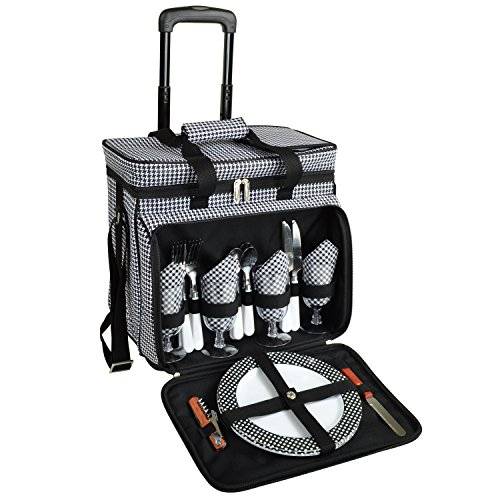 Picnic at Ascot Equipped Picnic Cooler with Service for 4 on Wheels – Houndstooth