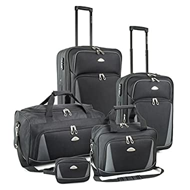 TravelCross Dublin 5 Piece Luggage Set w/ TSA lock - Black