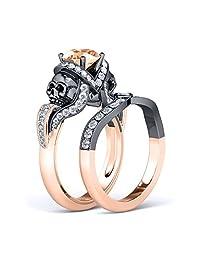 Twist Skull Designed Round Cut White CZ Diamond & Smoky Quartz Engagement Wedding Bridal Ring Set In Two-Tone 14K Black & Rose Gold Plated(Free Engraving)