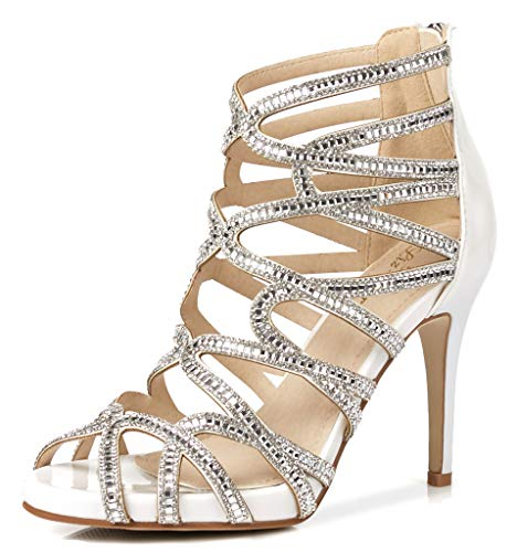 LizForm Women Evening Sandals Crisscross Jewelled Cutout Platform Pumps Wedding Stiletto High Heels White 8 ()