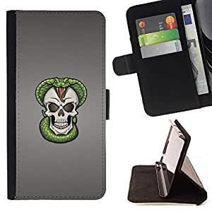 For Sony Xperia Z1 Compact D5503 Cobra Skull Snake Skeleton Beautiful Print Wallet Leather Case Cover With Credit Card Slots And Stand Function