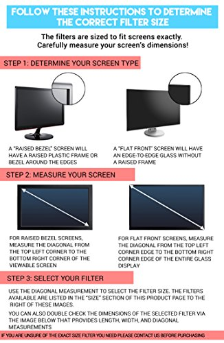 24-Inch Computer Privacy Screen Filter for Desktop Monitors (Diagonally-Measured); Anti-glare Anti-scratch Film; Protects Sensitive Confidential Data (24'' Widescreen (16:9 Aspect Ratio)) by Linnai Products (Image #2)