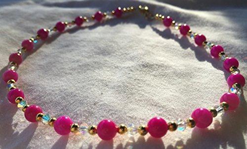 Dark Pink Jade and Clear AB Swarovski Crystal Bead 13 Inch Necklace (Swarovski Necklace Jade)