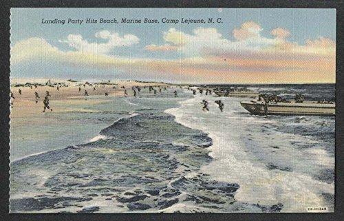 (Landing Party Hits Beach Marine Base Camp Lejeune NC postcard 1940s)