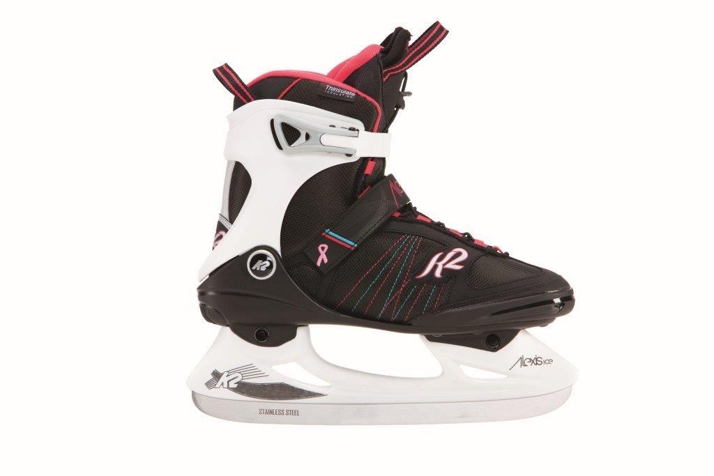 K2 Skate Alexis Ice Pro Skates, Black/White/Pink, Size 8