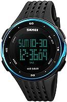 Timever(タイムエバー)デジタル腕時計 メンズ 防水腕時計 led watch スポーツウォッチ アラーム ストップウォッチ タイマーなどの機能付き 大文字盤 かっこいい 男女兼用 (ブルー)