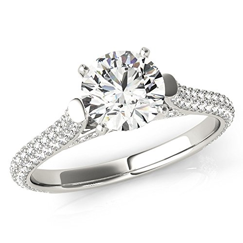 Scintilenora Cathedral MultiRow Certified Diamond Engagement Ring 18k Gold 1 3/4 TDW