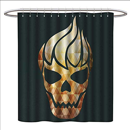 Anniutwo Modern Shower Curtain Customized Gothic Skull with Fractal Effects in Fire Evil Halloween Concept Patterned Shower Curtain W36 x L72 Yellow Light Caramel Dark Grey ()