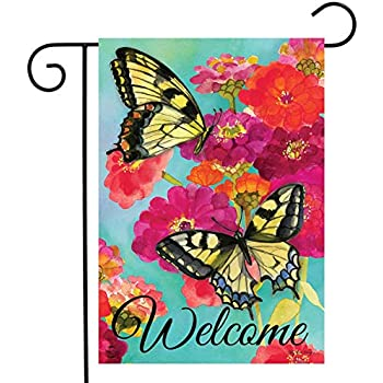 """Butterfly Wreath Spring Garden Flag Welcome Floral 12.5/"""" x 18/"""" Briarwood Lane"""