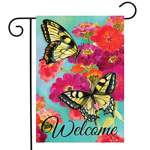 Briarwood Lane Morning Butterflies Spring Garden Flag Welcome Floral 12.5