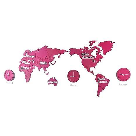 BJESSENCE 1 SET Nórdico 3D DIY Madera Digital Wall World Map Jigsaw Reloj de Pared Moda