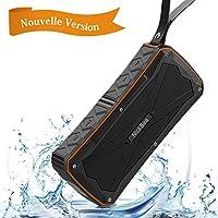 Enceinte Bluetooth 12W, NickSea Haut Parleur Bluetooth 4.1 Sans Fil Portable, Définition Stéréo, 27 Heures d'Autonomie en Lecture, Etanche IP6, Compatible Android iPhone TV et Autres Appareils Bluetooth - Orange
