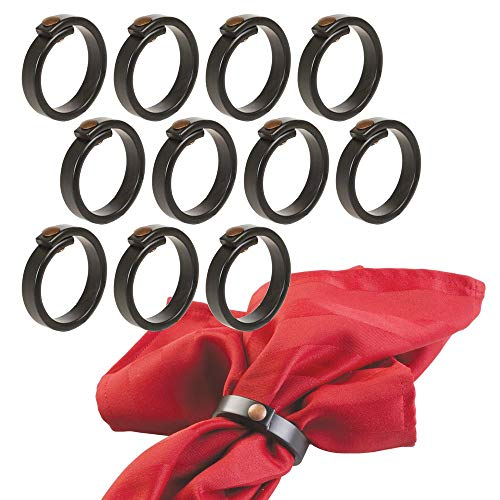 mDesign Metal Napkin Rings for Kitchen, Dining Room, Weddings, Dinner Party - Pack of 12, Matte -