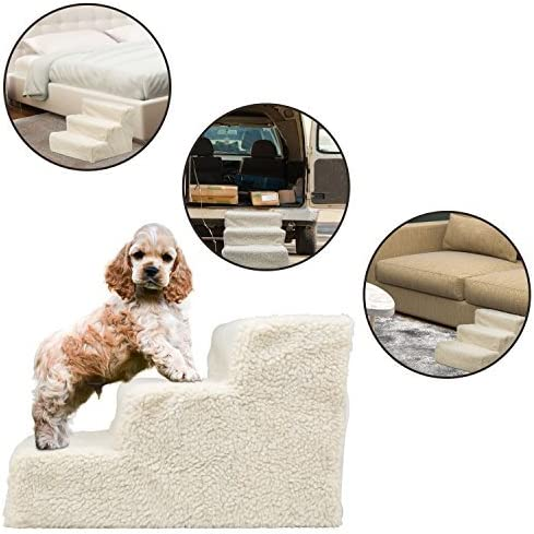 Black Waterproof PU Leather Cover Dogs Stairs for Small Dogs and Cats Puppy Doggy Pet Ramp for Sofa Anti-Slip Bottom