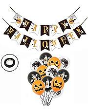 WJUAN Halloween party decoratieset Happy Halloween banner en 12 stuks latex ballonnen met pompoenspinnenspookdruk voor Halloween partydecoratie
