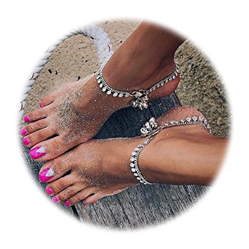 Silver Anklet Bells (Gudukt Vintage Coin Anklet Silver Bohomian Bell Tassel Beach Ankle Bracelet Foot Jewelry for women)