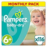 Pampers Baby-Dry, 116 Nappies, 16+ kg - Size 6+