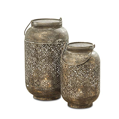 (WHW Whole House Worlds Moroccan Temple Lanterns, Set of 2, Hurricanes, Vintage, Lacy Lattice Patterned Bellies, for LED or Wax Candles, Patina Finish Brass Metal, Hinged Top, 17 and 13 Inches Tall)