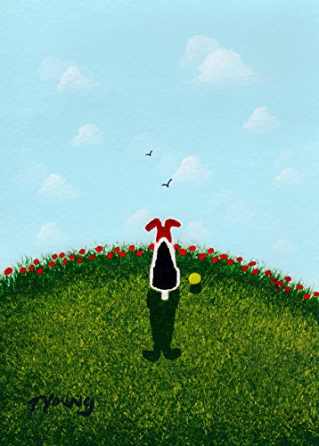 - Wired Wire Hair Fox Terrier Dog Folk Art PRINT by Todd Young SUMMER POPPIES