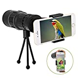 OUTERDO Monocular 10 Magnification 16x52 Dual Focus Telescope Camping Wildlife Hunting Surveillance Traveling Scope with Durable Tripod and Cellphone Adapter Waterproof Monocular Optics Zoom Bright