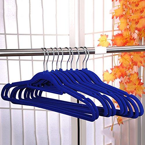 BB BLUE 10x Flocked Non-Slip Slim Clothes Hangers Velvet Closet Coat Thin (Bulldog Post Earrings)