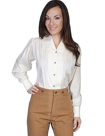 495f67b647b7 Scully Wahmaker Women's Wide Lapel Blouse Ivory Medium at Amazon Women's  Clothing store: Dress Shirts