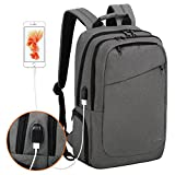 15.6 Inch Anti-Theft Business Laptop Backpack College School Bookbag, Water Resistant TSA Friendly Scansmart Travel Computer Backpack with USB Charging Port (6-grey)