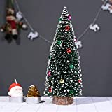 Tabletop Christmas Tree Flocked Small Artificial Christmas Tree with Plastic Balls Ornaments and Wood Look Base Christmas Table Desk Tops Decorations (C)