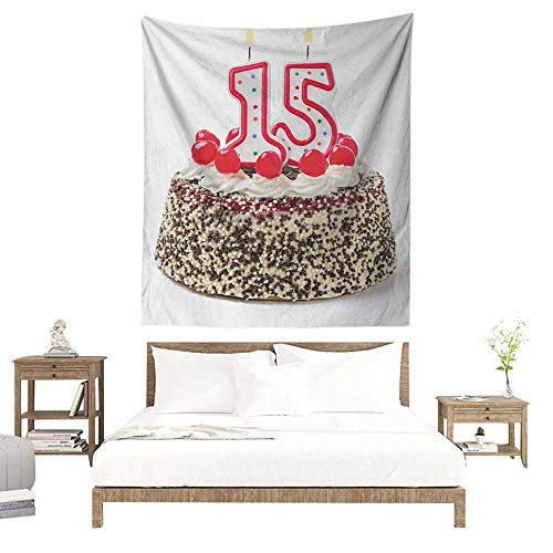 Trendy Edge Fine (WilliamsDecor Bedroom Tapestry 15th Birthday Chocolate Cherry Tasty Cake with Number Candles Surpise Party Theme Image 54W x 84L INCH Suitable for Living Room, Bedroom, Beach)