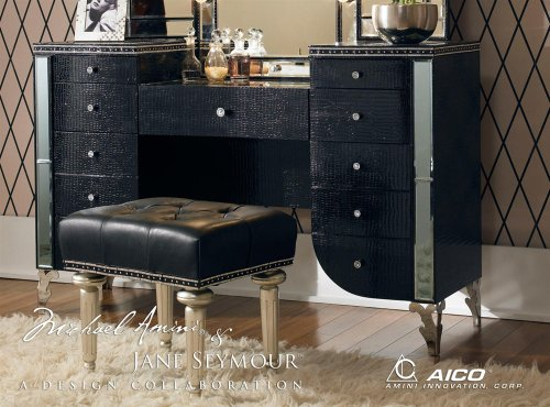 Aico Hollywood Swank Vanity in Black Iguana Vinyl by Michael Amini  (Does not Include Mirror & Bench) (Hollywood Glamour Furniture Bedroom Sets)