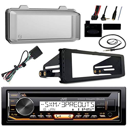 98-2013 JVC Harley Touring ATV Install Adapter Dash Kit FLHT CD MP3 AM/FM Radio Stereo with Bluetooth FLHTC CD Dash FLHX with Enrock Marine Radio Antenna + Stereo Cover (Car Antenna Mp3 Adapter)