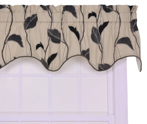 Ellis Curtain Riviera Large Scale Leaf and Vine Lined Duchess Filler Valance Window Curtain, Black