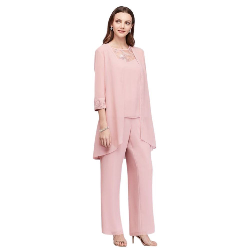 Lace-Detailed Georgette Three-Piece Pantsuit Style 26335, Dusty Rose, 16