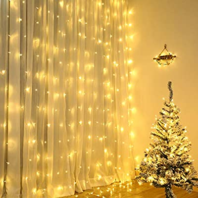 Lyhope Window Curtain Lights, Low Voltage Adapter 300 LED 8 Modes 9.8 ft x 9.8 ft Icicle String Lights for Indoor & Outdoo