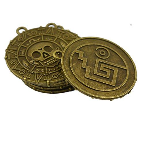 MonkeyJack 6x Punk Halloween Pirates Aztec Coin Medallion Skull Necklace Pendant -