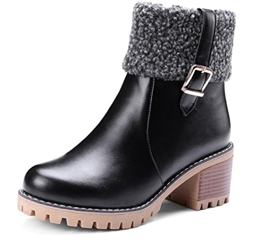 LINYI Mujeres Martin Boots Mid High Heel Warm Plush Casual Smart Party Zapatos Botines Black