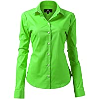 Harrms Womens Basic Long Sleeve Slim Fit Casual Button up Shirt Stretch Formal Shirts