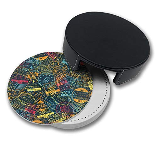 RZ GMSC Passport Stamp Pattern Coasters for Drinks,PU Leather Coasters with Holder,Suitable for Kinds of Mugs and Cups,Protect Furniture from Damage(6PCS)