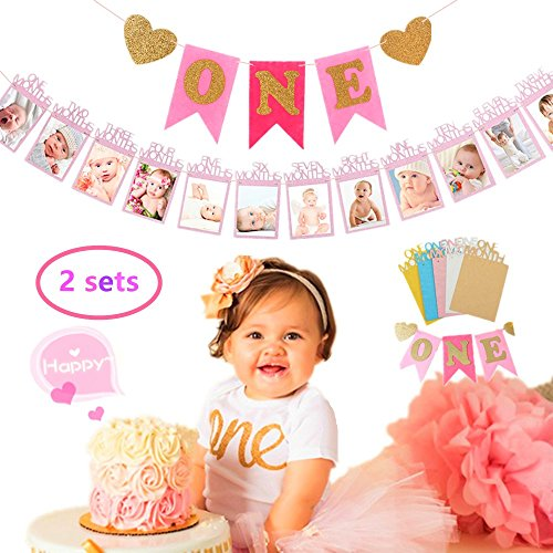 (Set of 2) JeVenis Glittering Baby First Birthday Decorations Banner