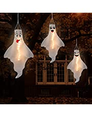 Jpfezry 3PCS Halloween Decorations Outdoor LED Ghost Windsock Hanging Decor - Hallowmas Wind Sock Yard Tree Party Supplies(Batteries Not Included)