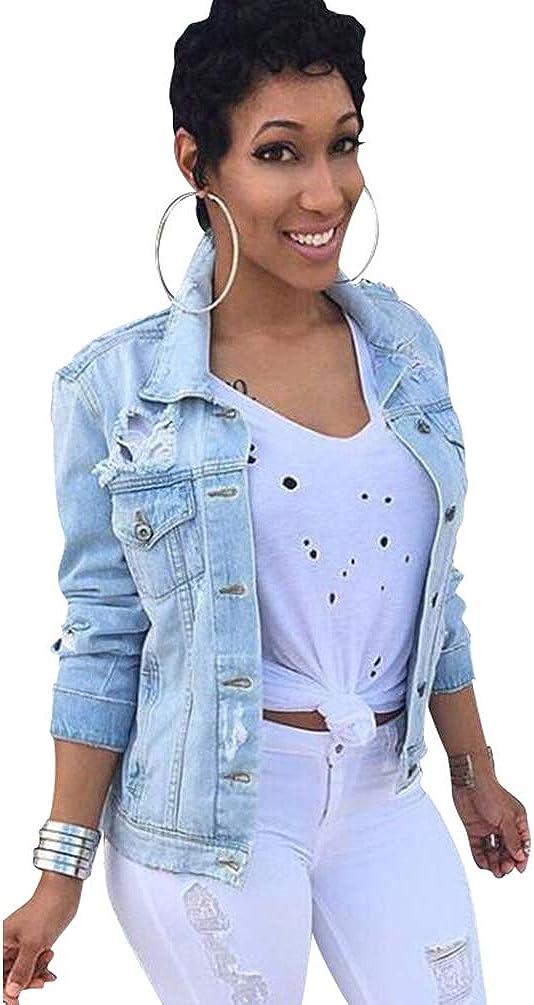 Jitong Giacca di Jeans Strappato per Donna Distressed Manica Lunga Cappotto Denim Giubbino Corto