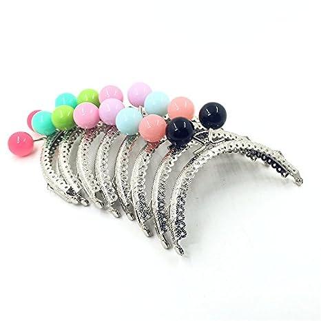 GuoFa 10.5CM Silver Metal Frame Purse Coin Bag Kiss Clasp Lock DIY Craft Assorted Candy Bead Bronze 24PCS