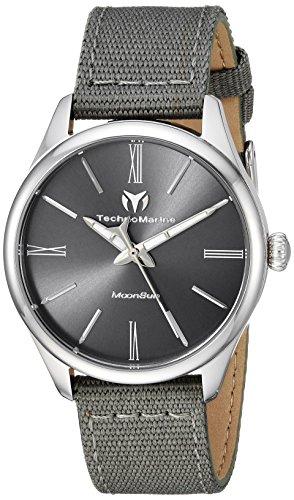 Technomarine Women's MoonSun Stainless Steel Quartz Watch with Nylon Strap, Grey, 18 (Model: TM-117012