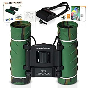 Binoculars for kids 8X21 Compact Camouflage – High Grade Optics - Lightweight - Gift for Boys Girls – Bird Watching, Outdoor Field Camping Hiking Safari Zoo Travel Water Shock Proof With Book