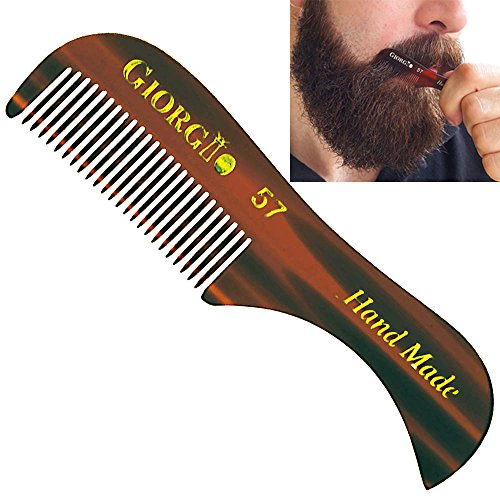 Giorgio G57 2.75″ X-Small Men's Fine Toothed Beard and Moustache Combs Pocket Size for Facial Hair Grooming. Hand-Made of Quality Cellulose, Saw-Cut & Hand Polished. (3 Pack, Tortoise)